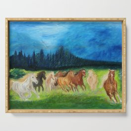 Colorful Horses Oil Painting. Home Decor.  Serving Tray