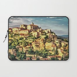 Gordes Hilltop Village painting, French historic town scenery, Provence France nature, travel art po Laptop Sleeve