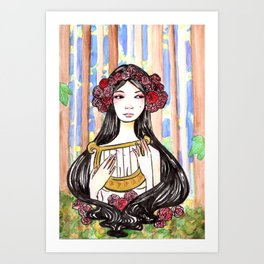 Harp Watercolor Painting by Grimmiechan Art Print