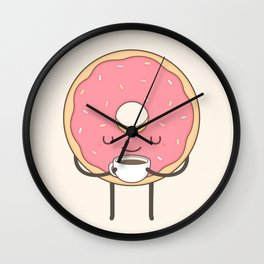 donut loves coffee Wall Clock