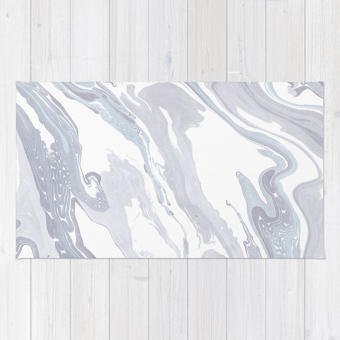 Navy Marble Waves Rug