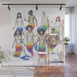 group of mermaids holding knives Wall Mural