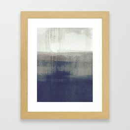 Navy Blue and Grey Minimalist Abstract Landscape Framed Art Print