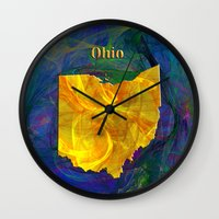 ohio state Wall Clocks featuring Ohio Map by Roger Wedegis