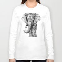 gray pattern Long Sleeve T-shirts featuring Ornate Elephant by BIOWORKZ