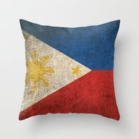 philippines Throw Pillows featuring Old and Worn Distressed Vintage Flag of Philippines by Jeff Bartels