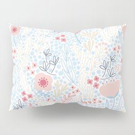Floral Pattern #1 | Blue and Peach Pillow Sham