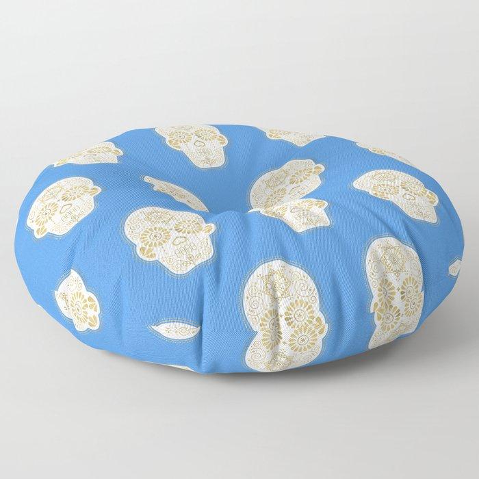 Día de Muertos • Mexican Sugar Skull – Blue & Gold Palette Floor Pillow