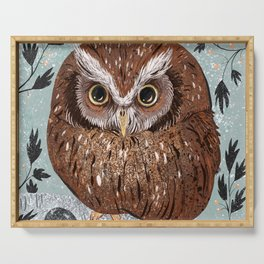 Painted Owl Serving Tray