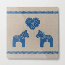 Christmas Blue Dala Horses on Burlap Metal Print