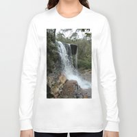 waterfall Long Sleeve T-shirts featuring waterfall by LynsArtStudio