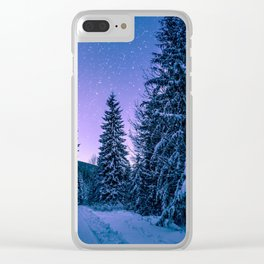 Winter-Snow-Trees Clear iPhone Case