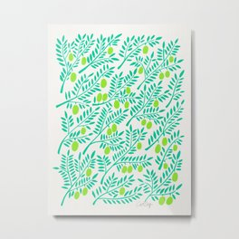 Olive Branches – Turquoise & Lime Palette Metal Print