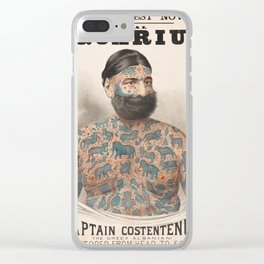 Vintage Tattoo Print of Captain Costentenus Clear iPhone Case