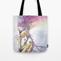 technology Tote Bags featuring Slave to Technology by Austen Mengler