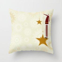 Santa Claus and christmas stars Throw Pillow