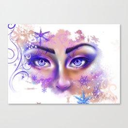snow beautiful winter snowflakes eyes girl Canvas Print