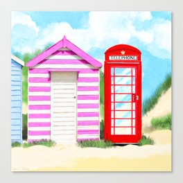 Summer In Great Britain - Red Telephone Box Artwork Canvas Print