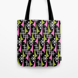 Mid Century Modern Atomic Wing Composition 235 Black Pink and Charteuse Tote Bag