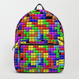 Tetris Inspired Retro Gaming Colourful Squares Backpack