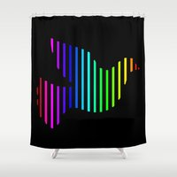 techno Shower Curtains featuring Techno Pigeon by JG Designs
