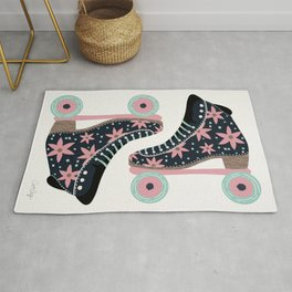 Retro Roller Skates – Denim & Pink Rug