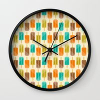 popsicle Wall Clocks featuring Popsicle by Liz Urso