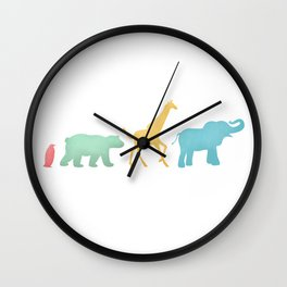 Baby Animal Silhouettes Wall Clock