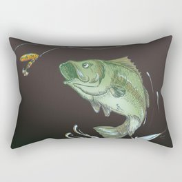 Bass Jumping At Night Rectangular Pillow