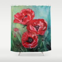 fairies Shower Curtains featuring The Fairies Poppies by Stephanie Koehl