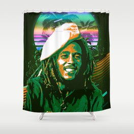 BobMarley retro art Shower Curtain