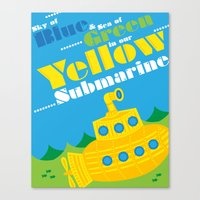 yellow submarine Canvas Prints featuring Yellow Submarine by robyriker
