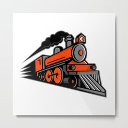 Steam Locomotive Speeding Mascot Metal Print