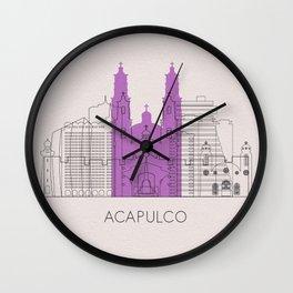 Acapulco Landmarks Poster Wall Clock