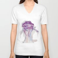 ostrich V-neck T-shirts featuring Ostrich Painter by Ahmad Mujib