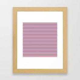 Pink and Navy Blue Horizontal Stripes Framed Art Print