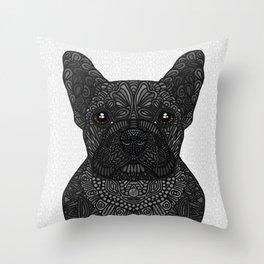 French Bulldog in black Throw Pillow