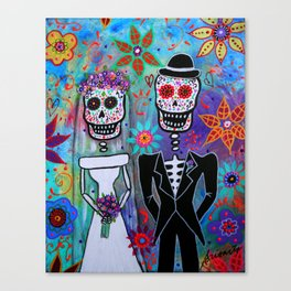 DAY OF THE DEAD WEDDING COUPLE PAINTING Canvas Print