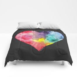 #LoveWins Watercolor Painting (Black) Comforters