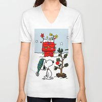 snoopy V-neck T-shirts featuring Snoopy 01 by tanduksapi