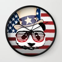 patriotic Wall Clocks featuring Patriotic Panda by crayzeestuff