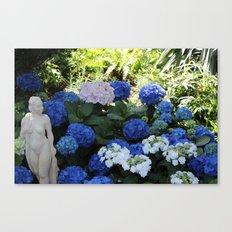 Blue Hydrangea and Lady Canvas Print