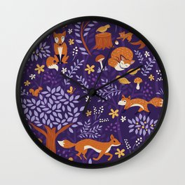 Foxes Playing in a Purple Forest Wall Clock