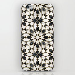 Black and white marble Moroccan mosaic iPhone Skin