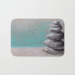 Stack of balanced stones on the beach drawing by pastel Bath Mat