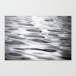 Black and White Ocean Water Ripple Photography, Grey Wave Ripples, Gray Waves Beach Coastal Canvas Print