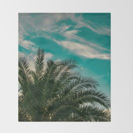 Palms on Turquoise - II Throw Blanket