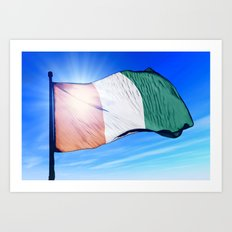 Cote d'Ivoire flag waving on the wind Art Print