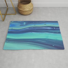 Shades of Blue Abstract Stripes Rug