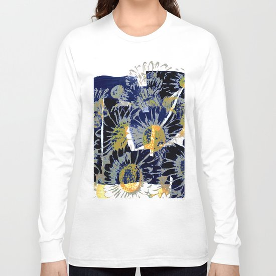 daisies on astract bakground Long Sleeve T-shirt